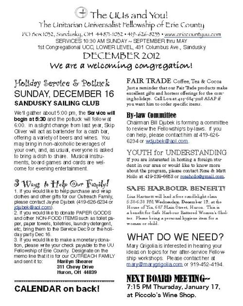 UU Fellowship of Erie County December Newsletter 2012 - Holiday Service on Sunday, December 16