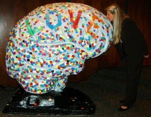 Dr. Jill kissing a brain!
