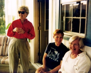 Barbara Baughman, Marilyn Muth & Sylvia Schelkers at UU Party at the Youngs about 1990