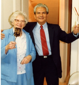 Charlie Schelkers & Sylvia's Mother UU Christmas Party  1986
