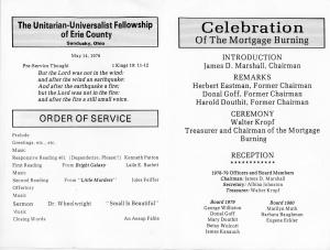 UU Mortgage Burning Program Inside May 1978
