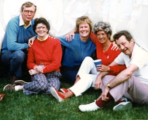 UU Picnic at Sylvia's 1983 Sylvia Olds,Chuck & Carolyn Rainger, Herb & Nancy Eastman
