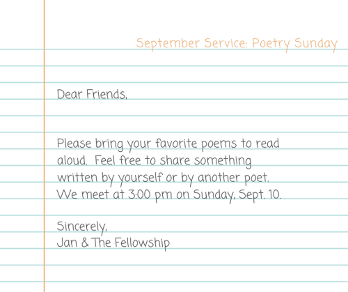 September Service- Poetry Sunday